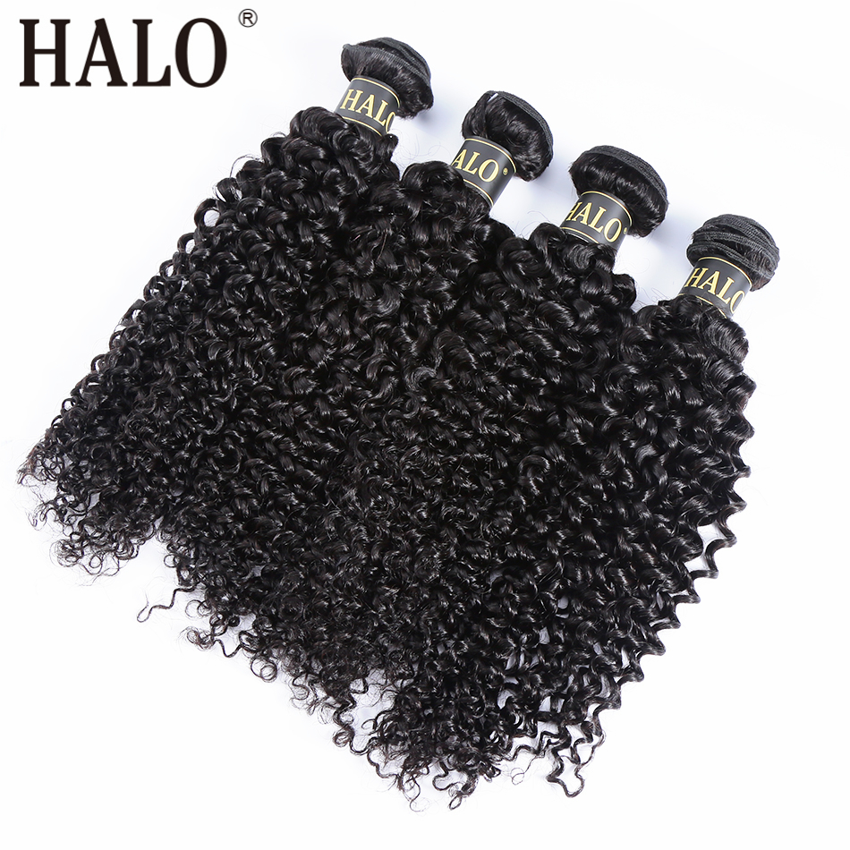 Halo Hair 28 30 Inch Brazilian Hair Weave Bundles Kinky Curly Human Hair 1 3 4 Bundles Natural Color Raw Remy Hair Extension