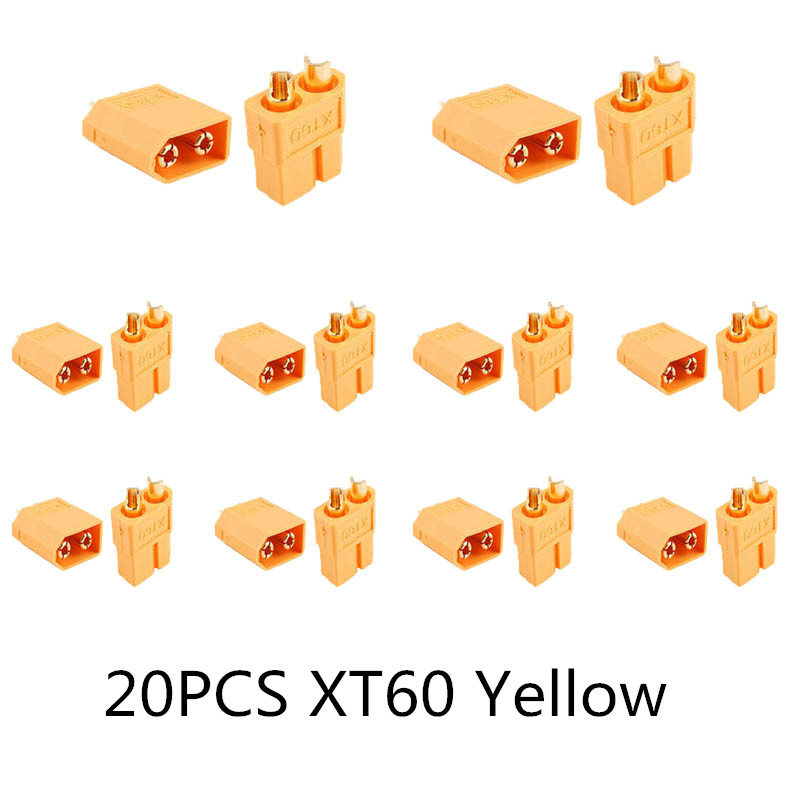 10/20 шт. XT60 черный/голубой/XT60+/XT30UPB/XT60-E/XT60-L штекерно-разъемы Вилки провод с силикатной гелевой обмоткой для Батарея Quadcopter Drone - Цвет: 20PCS XT60 Yellow