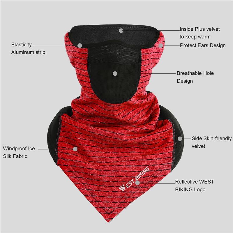H3e58cd1648274300a223a4e2069daf65W WEST BIKING Winter Cycling Mask Fleece Thermal Outdoor Sports Facemask Bandana Headband Anti-UV Running Training Ski Face Mask