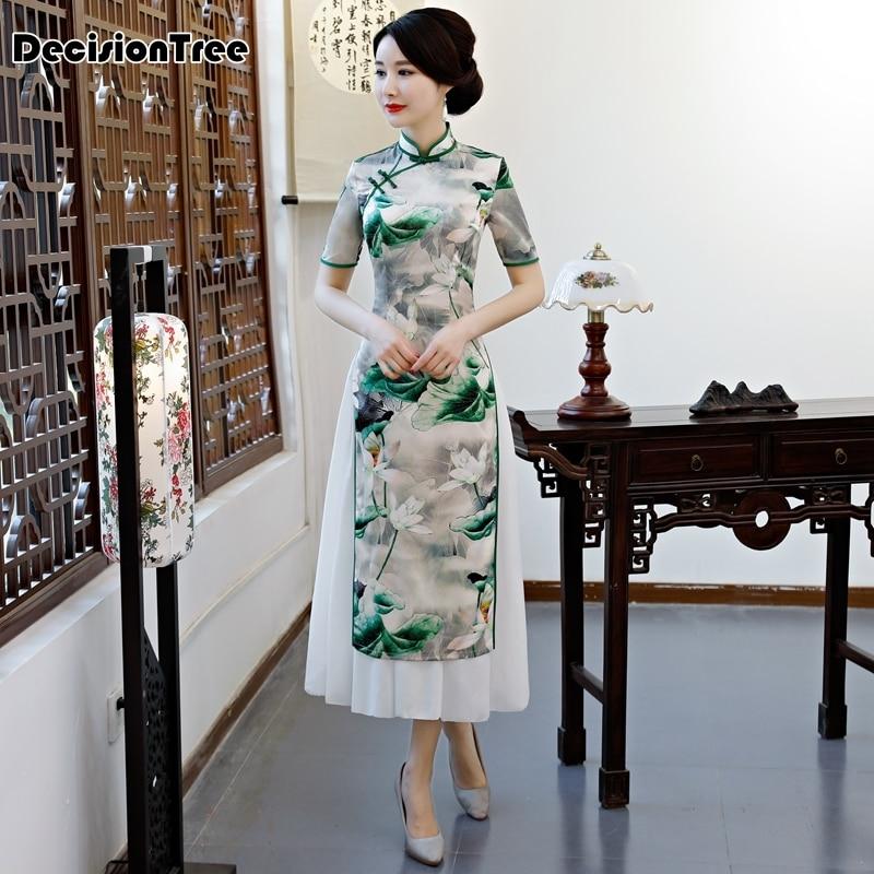 2020 high end aodai vietnam cheongsam style dress green qipao for woman traditional clothing floral ao dai chinese dress qipao