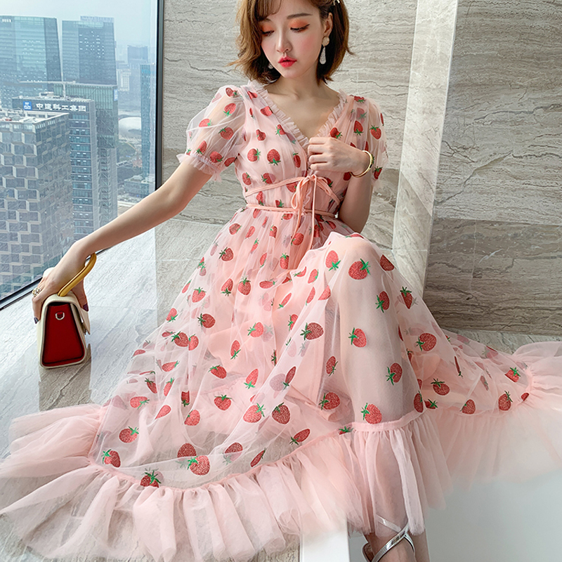 Runway Rhinestone Diamonds Strawberry Pink Mesh Maxi Dress Women Short Puff Sleeve Sexy V-neck Lace-up Bow Tunic Lolita Dress (27)