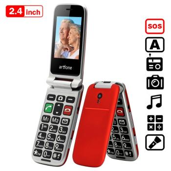 artfone CF241A Flip Big Button Mobile Phone,Senior phone with charging cradle and 2.4