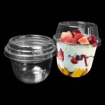 50pcs High quality transparent disposable ice cream cup 250ml 8oz creative yogurt pudding jelly dessert fruit salad plastic cups