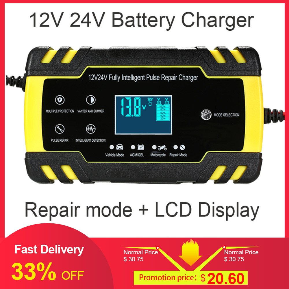 Auto Battery Lead Acid Charger Automobile Moto 12V 8A Intelligent LCD EU Plug-WT
