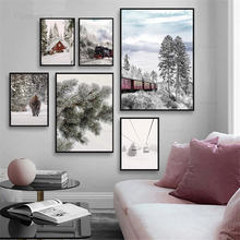 Зимний Снежный пейзаж холст Постер поезд железная дорога принт