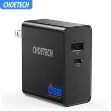 CHOETECH 32 USB Tipo C Carregador de Parede Com a Entrega de Potência W Dupla Porta USB Carregador De Viagem Plugue Dobrável Para samsung S10 S9 S8 Plus