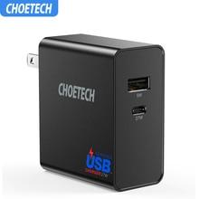 CHOETECH USB タイプ C 壁の充電器と電力供給 32 ワットデュアルポート USB 旅行充電器折りたたみプラグサムスン S10 S9 S8 プラス