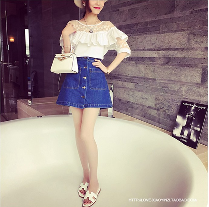 Korean-style New Style Large Pocket Front Button Half-length Denim Skirt Women's Slim Fit Slimming Short Skirt Skirt 55811 #