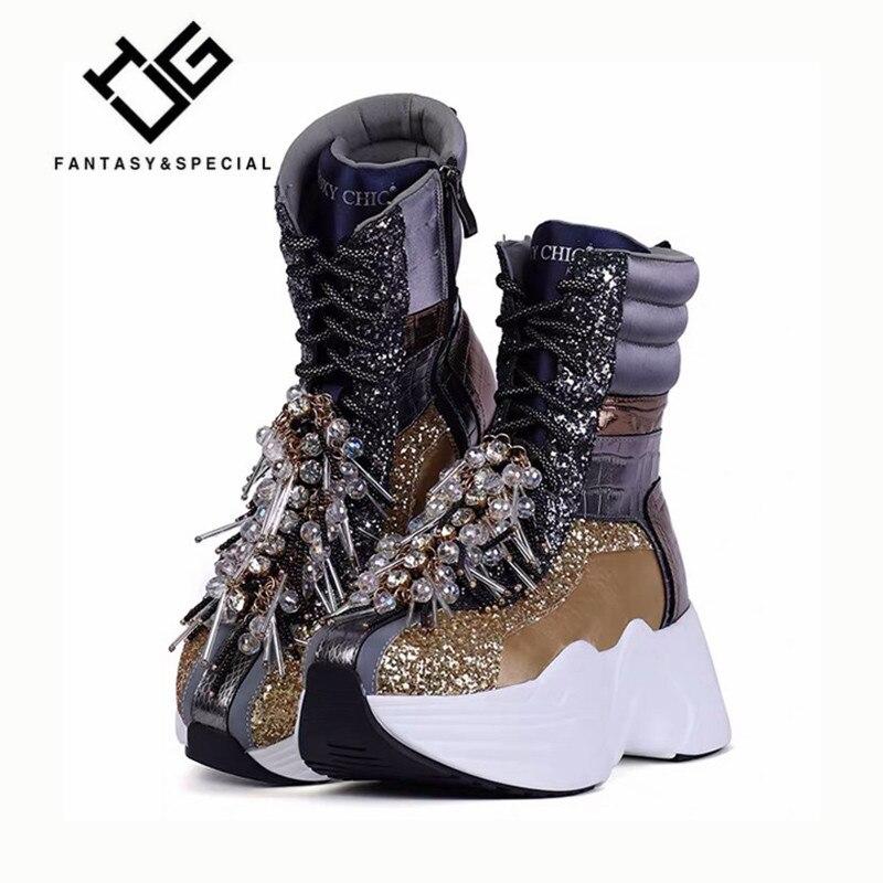 Women Sneakers Shoes Genuine Leather Sneakers Women New Chunki Shoe Woman Fashion Gold Tassel Thick Sole Ladies Platform Shoe