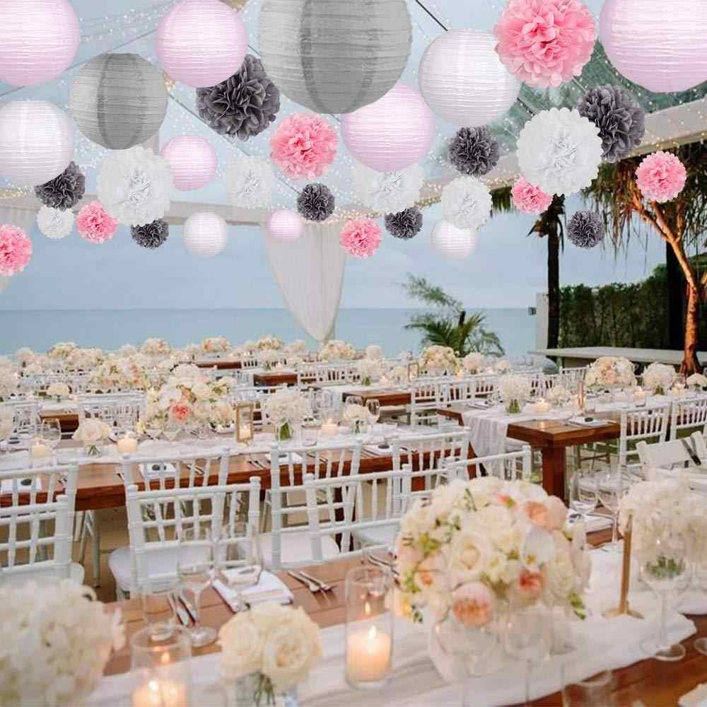Wedding Baby Shower Birthday Party Decoration 10-15-20-25-30-35-40cm White Round Chinese Paper Lantern Tissue Paper Flower Balls