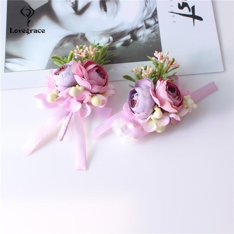 Wedding Corsage Bracelet Silk Flower Bridesmaid Groomsman Pink Rose Boutonniere Marriage Wedding Wrist Corsage Bracelet Flowers