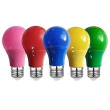 Красочный Светодиодный светильник E27 лампочки 3 Вт 5 Вт 7 Вт 9 Вт светодиодные лампы AC220V 110V красные, синие, зеленый, желтый, розовый, Bombillas Lampara д...