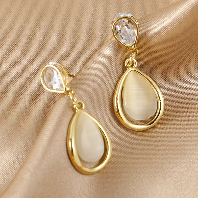 Dangle Earring Water drop Gold Color Fashion Korean Style Weeding Party Egagement Jewelry Nature Stone Female Accessories EF41