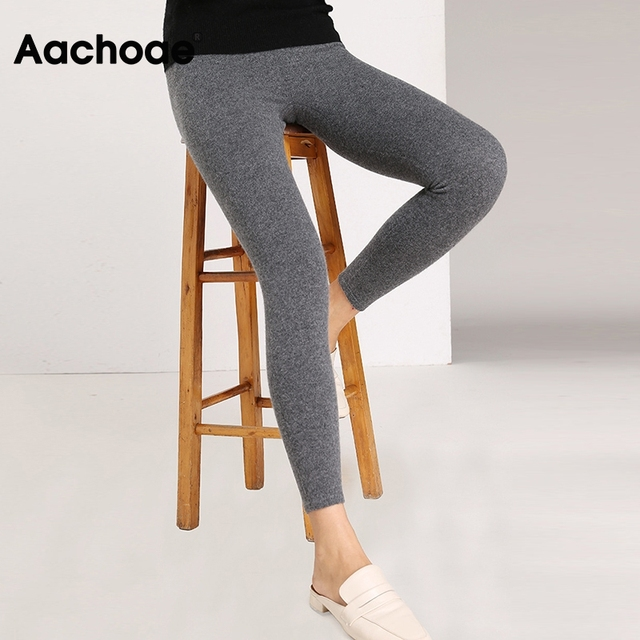 Aachoae Autumn Winter Women Leggings 2020 Solid Casual Slim Pants Trousers High Waist Sportwear Ladies Ankle Length Leggings 4