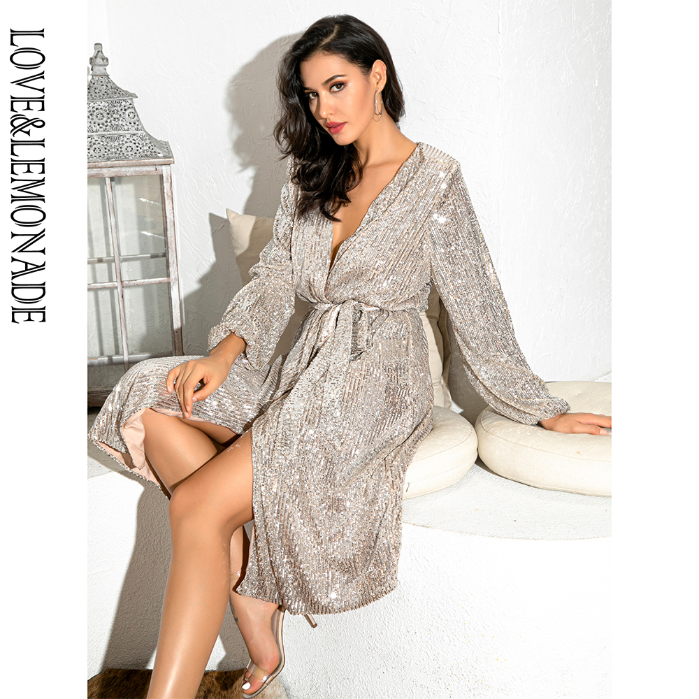 LOVE&LEMONADE Silver Sexy V-Neck Cross Belt Over-The-Knee Sequin Dress LM82021MID LM82021MID