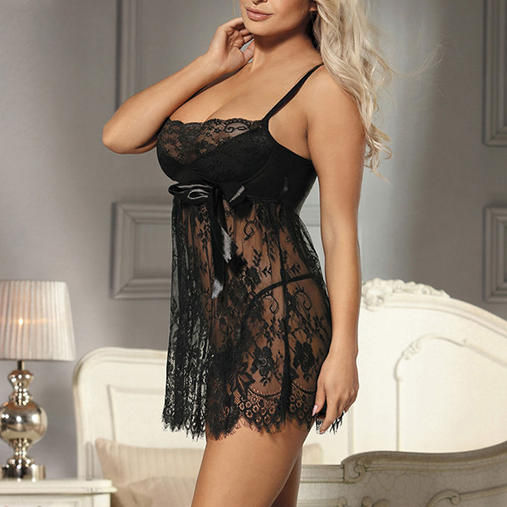 Plus Size Women Sleepwear Night Dresses Erotic Lingerie Night Gown Lace Sexy Ladies Black Nightdress Underwear Set Summer D30