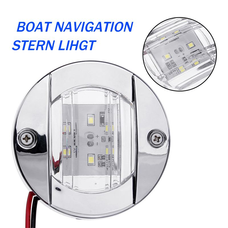 DC 12V LED Tail Lamp Marine Boat Transom LED Stern Light Round Stainless Steel Cold White/ Blue Yacht Accessories Waterproof