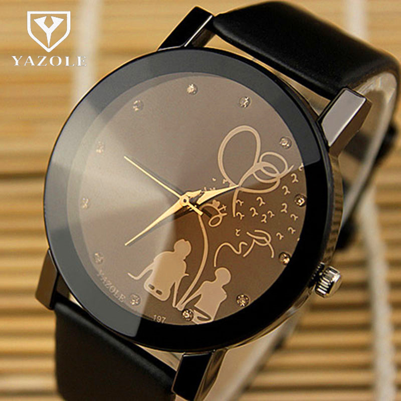 YAZOLE Couple Watches Leather Band Lovers' Quartz Wristwatches Hot Fashion Casual Young Couple's Clock Regalos Hombre Gift