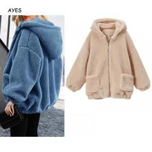 Fashion Hooded Coat 2019 Winter Faux Fur Coat Long Sleeve Teddy Jacket Pocket Hooded Fur Jacket Thick  Warm Teddy Coat Women drawstring zip pocket faux fur hooded flocking jacket