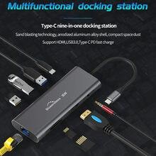 Blueendless 9 em 1 USB-C hub multiduntion docking station usb 3.0 4k hd display adaptador leitores de cartão de memória tipo c pd carga