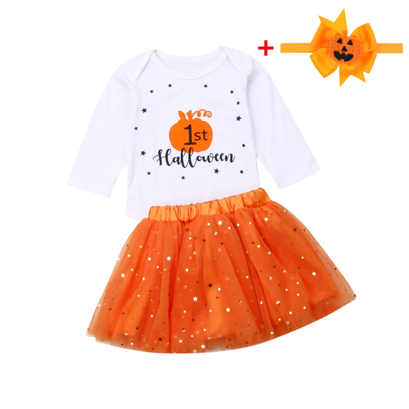 Baby Girl Halloween Clothes 2pcs/set Newborn Long Sleeve My 1st Halloween   Romper  +Stars Tutu Skirt Child Infant Clothing Suit 6M