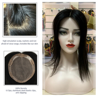 "Neitsi 14"" 15*17cm 6*7"" Silk Base Virgin Cuticle Woman Remy Hair Topper Wig With 6 Clips In Natural Human Hair Pieces Toupee"