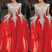 SuperKimJo czerwone suknie balowe krótki kimonowy rękaw aplikacja z koralikami odpinana spódnica elegancka świecąca luksusowa suknia wieczorowa Vestidos De Gala tanie tanio V-neck NONE Długość podłogi Prom dresses Cap sleeve Tulle Aplikacje Frezowanie Kryształ Koronki Zakładka simple Naturalne