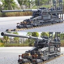 3846pcs Military Heavy Gustav/Dora 80cm Cannon E Railway GUN army Building Blocks Tank Soldier Bricks Toys