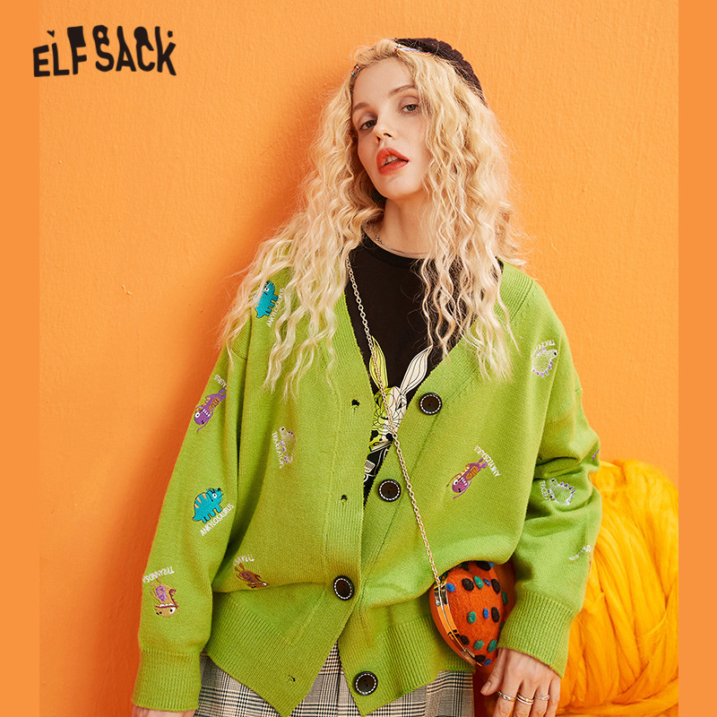 ELFSACK Multicolor Solid Cartoon Embroidery Knit Casual Cardigan Women Sweaters 2019 Winter Single Button Long Sleeve Female Top