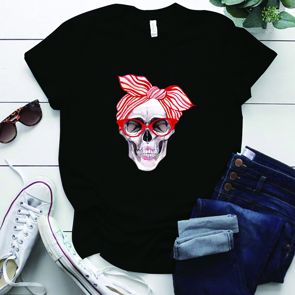 Bow Skull Printing Funny Women TShirts Plus Size S-5XL Round Neck Casual Tshirts for Ladies Gift Summer Tops for Women 2020 image