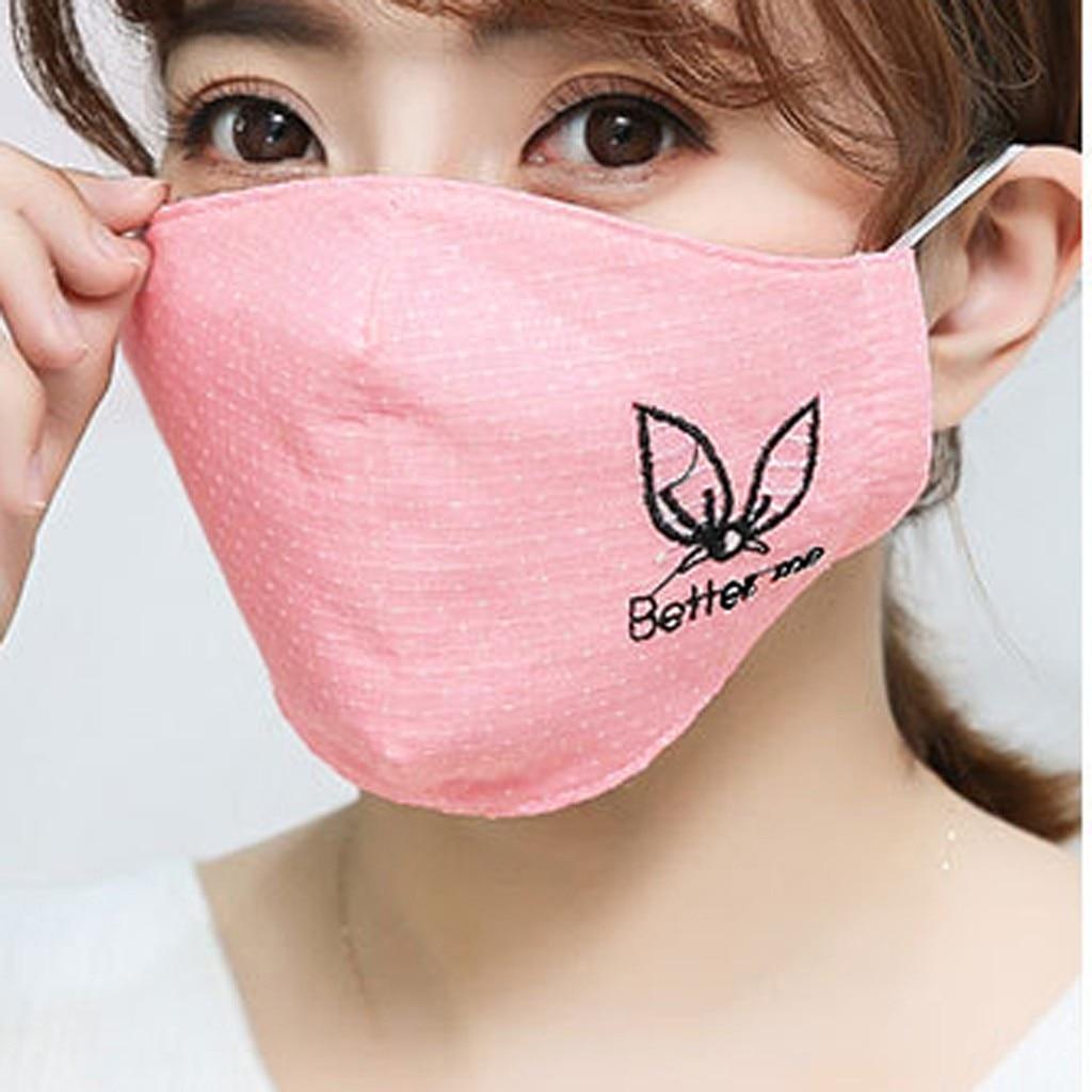 H3e5a34b058e749a18cdcfd16537bdafdA Kawaii Maska Women Cotton Print Facemask Outdoor Riding Quick-drying Dustproof Keep Warm Mask