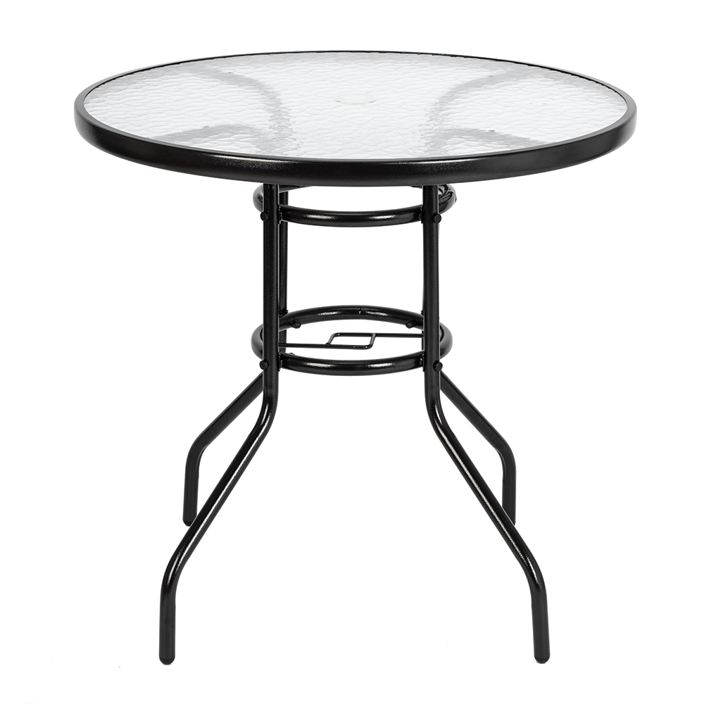 Outdoor Dining Table Round Toughened Glass Table Yard Garden Glass Table Dark Chocolate Mm Ripple Toughened Glass  80 X 70cm|  - title=