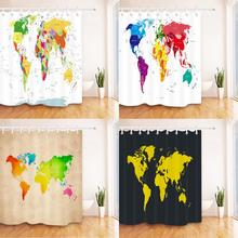 Colorful World Map Shower Curtains Bathroom Curtain Bathing Decor Bathing Accessories Waterproof Fabric Polyester Bath Screens 3d sheer shower curtain waterproof shower curtain transparent bathing bathroom curtains for home decoration bathroom accessories