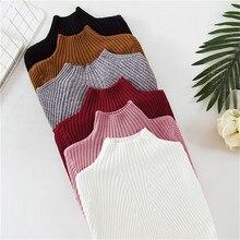 Winter Warm White Basic Lady's Sweater Women's Turtleneck Pullover Knit