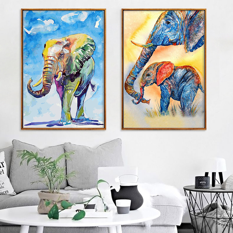 Modern Watercolor Elephant Animal Oil Painting on Canvas Pop Art Poster and Print Abstract Wall Picture for Living Room Decora