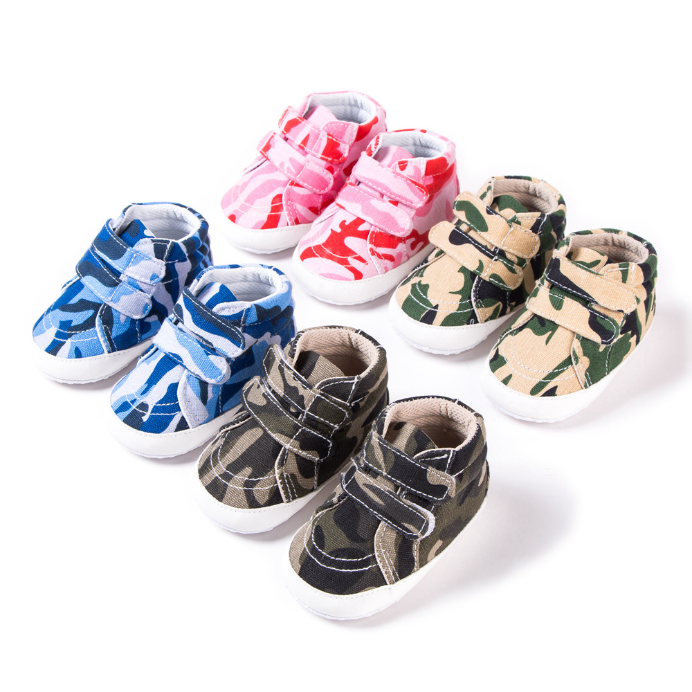 New Baby Shoes Boys Girls Booties Todder Kids Crib Shoes Newborn Soft Sole Prewalker Infant Canvas Sneakers Camo First Walkers