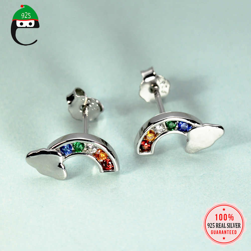ElfoPlataSi 100% 925 Solid Real Sterling Silver 5mmX12mm Rainbow with CZ Stud Earring For Teen Girl Friend Kid Lady XY1029