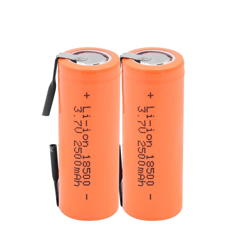 Bateria do li-íon de gtf 3.7v 2500mah 18500 com 2 abas de soldagem 18500 2500mah pilha do íon de lítio para o farol mecânico da lanterna elétrica do diodo emissor de luz