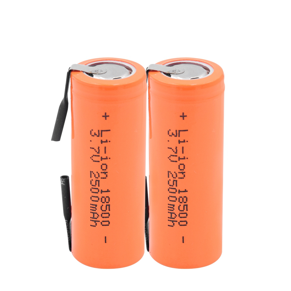 GTF 3.7V 2500mAh 18500 Li-ion Battery With 2 Welding Tabs 18500 2500mAh Lithium Ion Cell For Led Flashlight Headlight Mechanical image