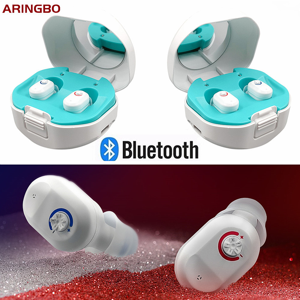 Aringbo Bluetooth Rechargeable Binaural Hearing Aid In-Ear Sound Amplification Deaf Assist With Replacement Earplugs Storage Box