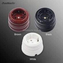6pcs High Quality European Retro Ceramic Socket Wall Lamp Outlet EU pop Electrical Socket