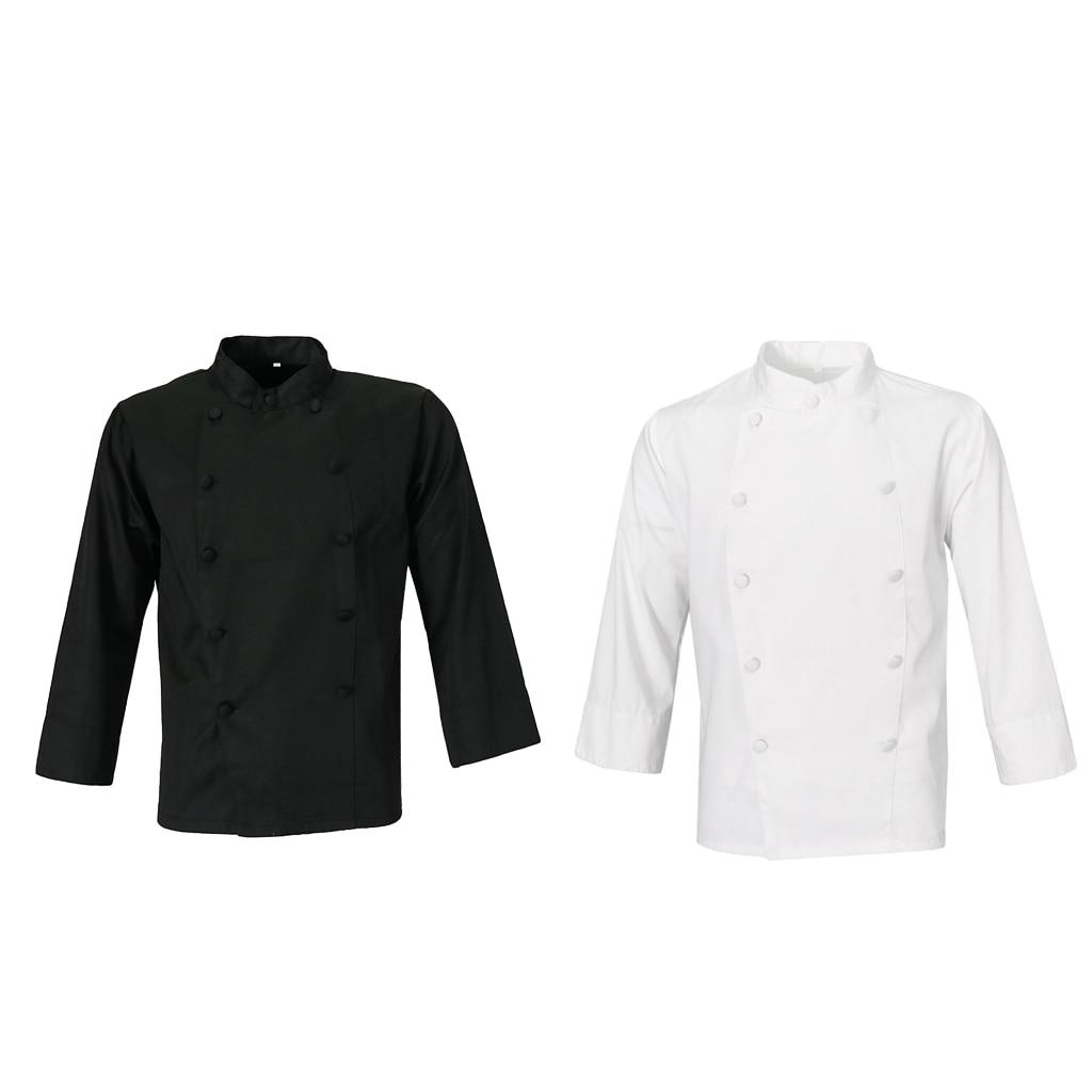 Unisex Chef Jacket Coat Hotel Waiter Uniform Middle Sleeves