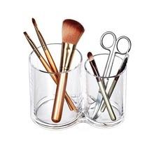 Acrylic Makeup Organizer Transparent Desk Cosmetic Makeup Organiser Storage Box Lipstick Brush Holder practical clear acrylic makeup arrangement storage box lipstick holder transparent multi slots desktop cosmetic organizer