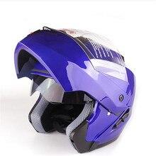 DOT sistema capacete dupla viseira Modular Virar Para Cima do capacete Da Motocicleta rosto cheio capacete Azul S ao XXL 55 para 64cm