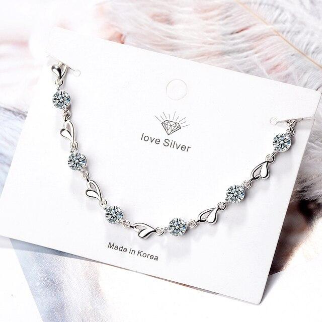 Delicate 925 Sterling Silver Zircon Love Heart Shaped Bracelets For Women Valentines Gift Wedding Jewelry 3