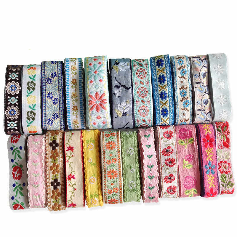 50 yards DIY Embroidery Ethnic Lace Ribbon Trim Jacquard Fabric Sewing Tape