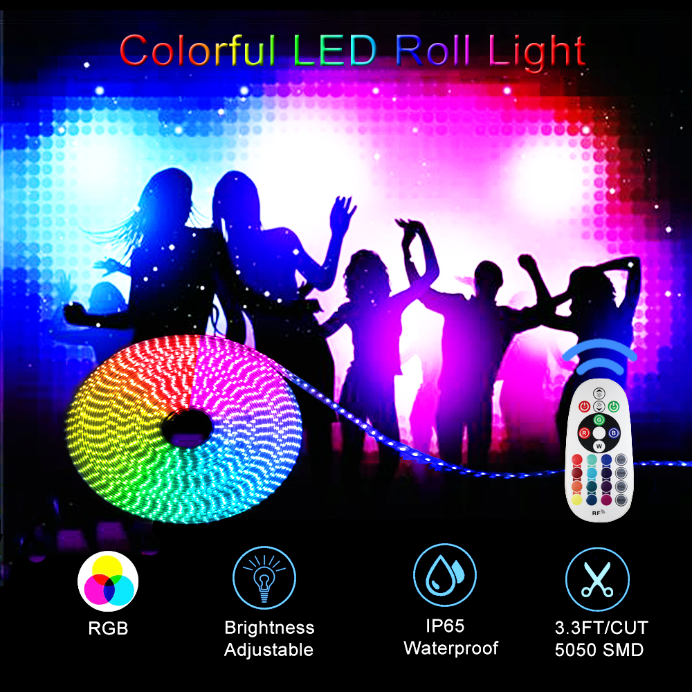 AC 110V LED Strip Light RGB SMD 5050 Tape Phone APP and Remote control Waterproof flexible neon lights Outdoor room decoration - 6