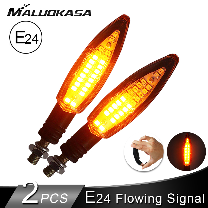 4PCS Motorcycle Turn Signals Light E24 Built Relay Flowing Water Flashing  24LED Blinker Bendable Tail Stop Signal For Honda