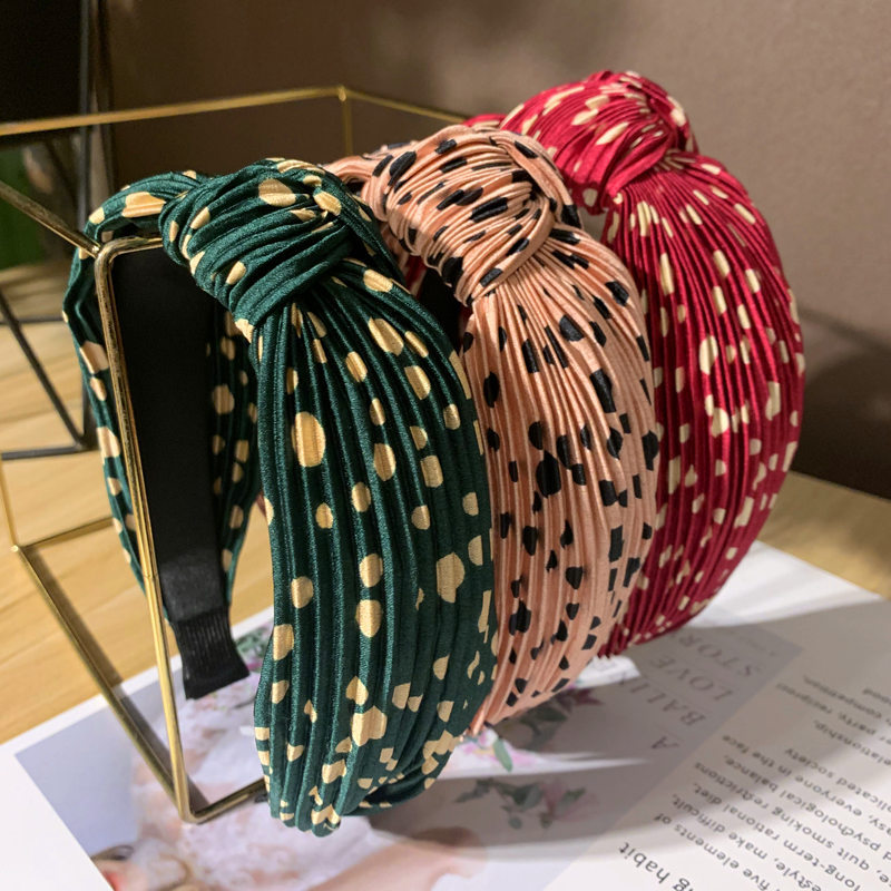 Bohemian Vintage Polka Dot Pleated Knot Headband Knotted Hairband For Women Hair Accessories Hair Jewelry