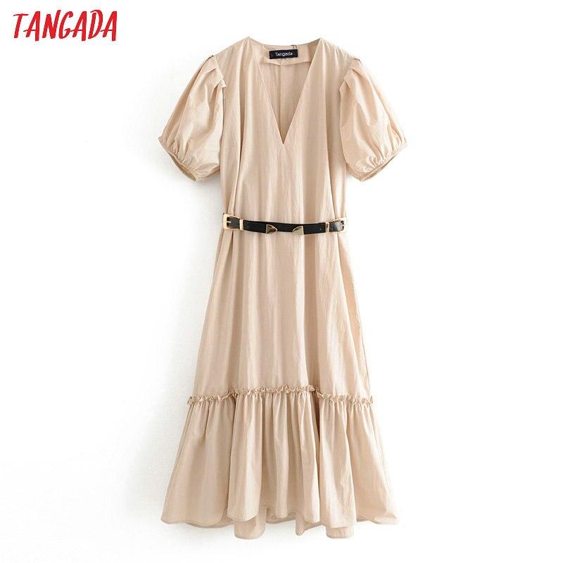 Tangada Fashion Women Solid Summer Dress With Belt 2020 New Arrival Short Sleeve Ladies Loose Midi Dress Vestidos 3H338